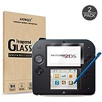 Akwox Schutzfolie für Nintendo 2DS 9H Härtegrad Panzerfolie Displayschutz Glasfolie Stoßfest Kratzfest HD