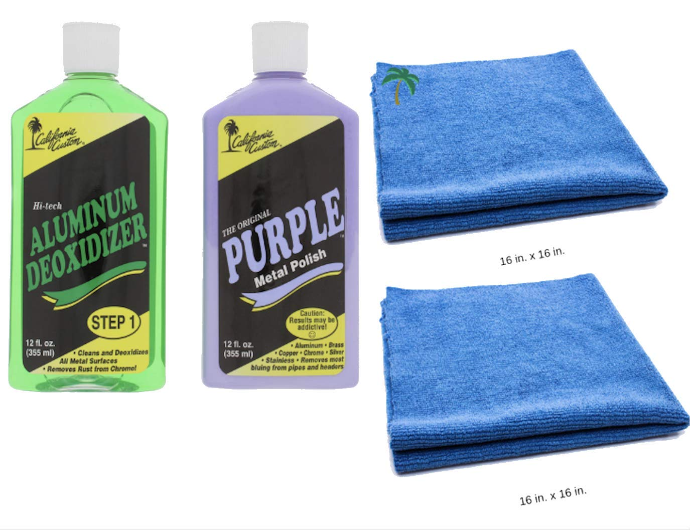 California Custom Products Purple Metal Polish/Deoxidizer Bundle with Microfiber Detailing Towels