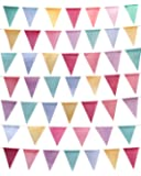JINEELRIT 52 Feet 48 Pieces Multicolored Triangle Flags Imitated Burlap Bunting Banner Multicolor Triangle Flags Party Wedding Birthday Hanging Decoration