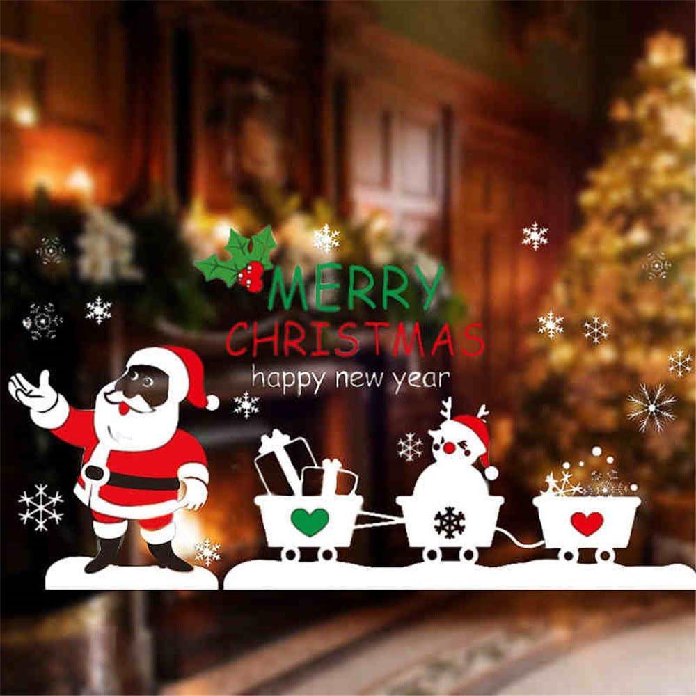 Amazon Co Jp ウォールステッカー クリスマス 窓 シール 壁紙 ポスター サンタ Xmas Christmas ガラスステッカー クリスマス デコレーション A ホーム キッチン