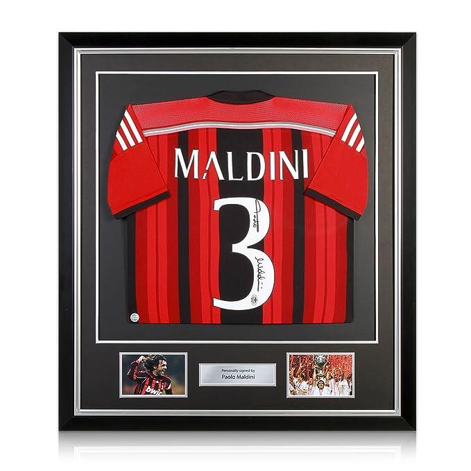 AC Milan camiseta, firmado por Paolo Maldini. En Deluxe Negro Marco Con embutido de la plata: Amazon.es: Deportes y aire libre