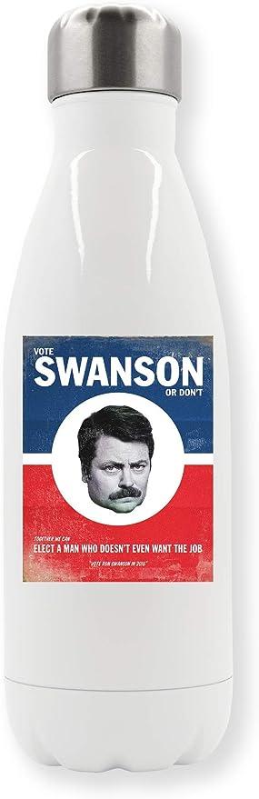 LukeTee Vote Ron Swanson Poster Botella de Agua Termo: Amazon ...
