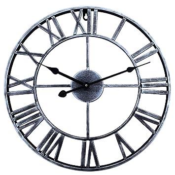 Yvsoo Reloj de Pared Vintage 40cm Reloj de Pared Silencioso Creativo Reloj Decorativo para Cocina, Salon, Habitación (Plata): Amazon.es: Hogar