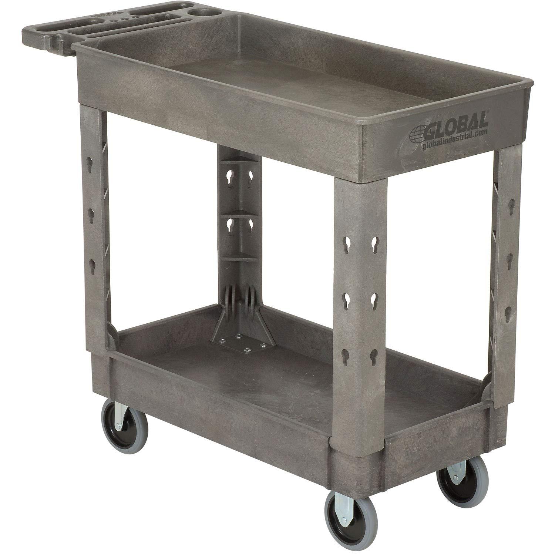 "Plastic 2 Shelf Tray Service & Utility Cart, 38"" x 17-1/2"", 5'' Rubber Casters"