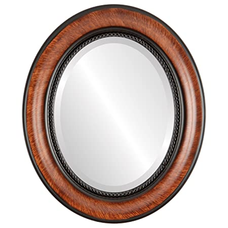 Oval Wall Mirror for Home Decor, Bedroom, Living Room, Bathroom Decorative Framed Beveled Mirror Heritage Style – Vintage Walnut – 23×29 Inch Outside Dimensions
