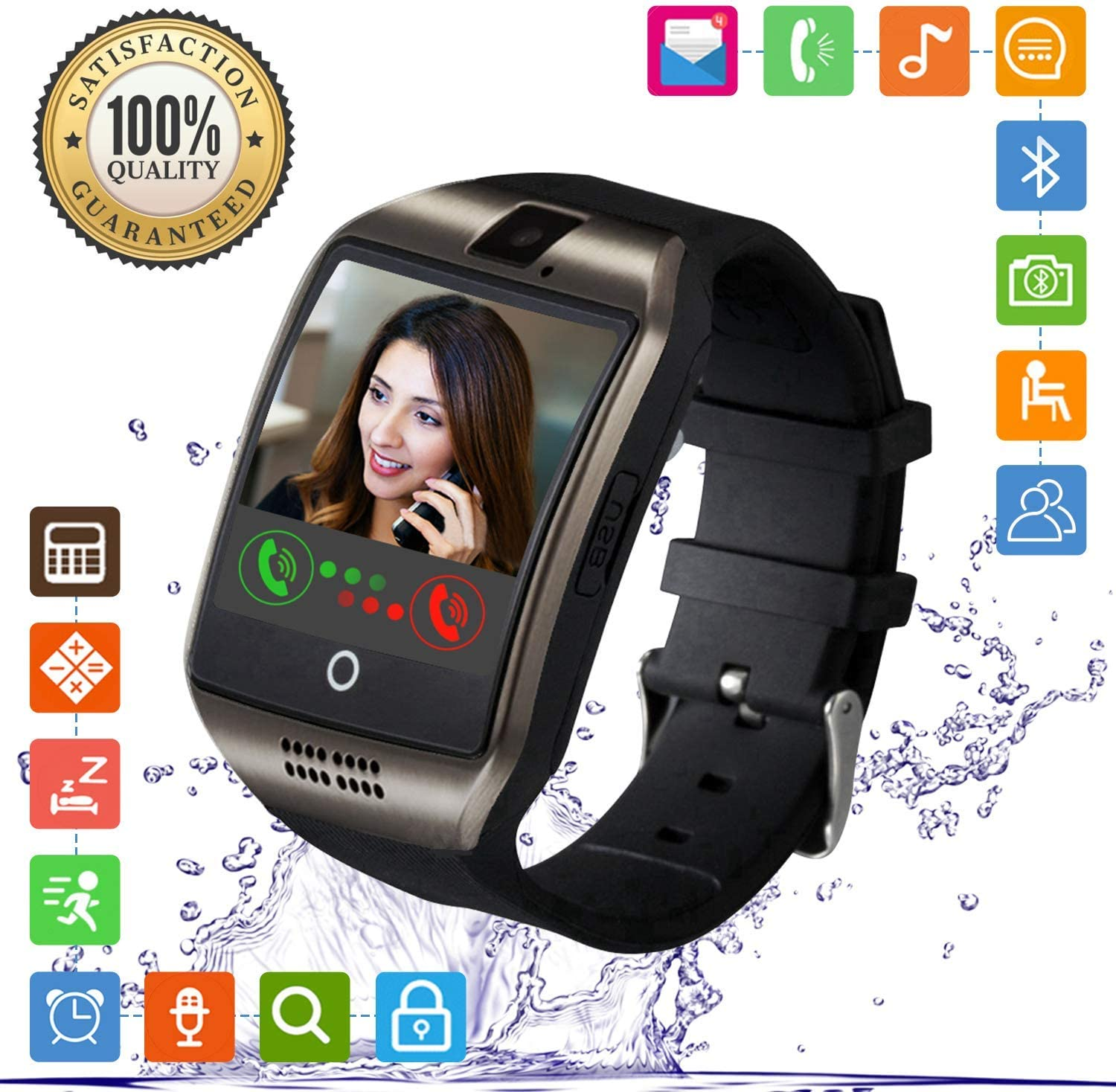 FENHOO Smart Watch Bluetooth Smartwatch With Touch Screen Camera SIM Card Slot for Calling Message Pedometer Music Play Smart Watches Compatible