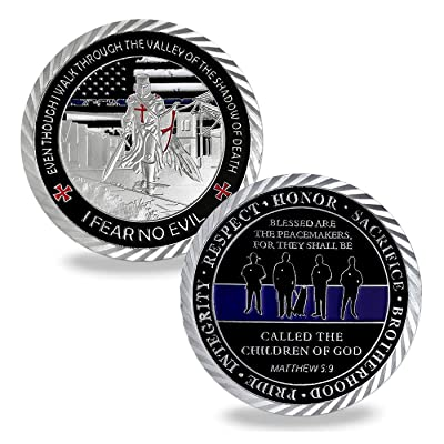 US Police Officers Challenge Coin Thin Blue Line Law Enforcement Commemorative Coins: Toys & Games