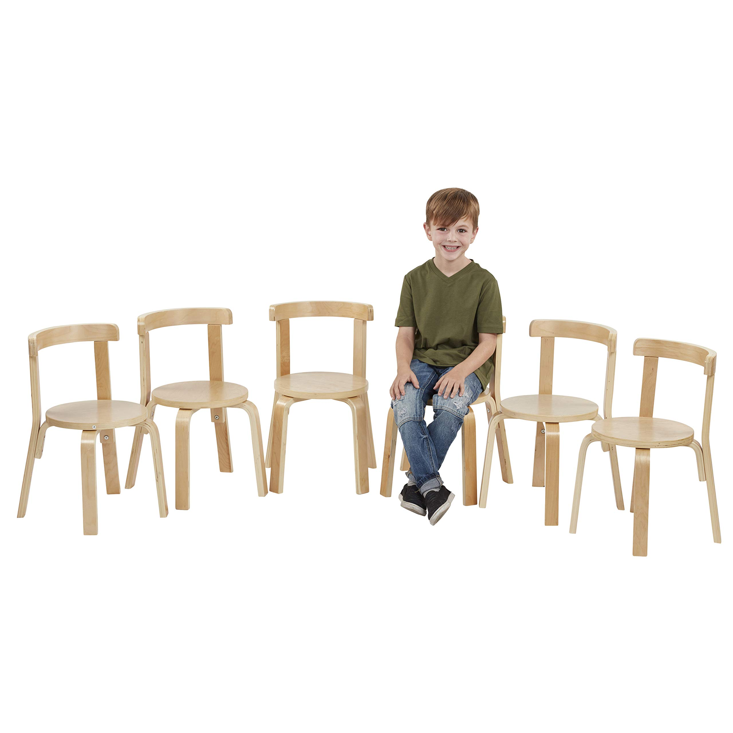 ECR4Kids Bentwood Curved Back Chair 6-Pack, Sturdy Backed Stools for Kids and Toddlers, Natural (Set of 6) by ECR4Kids