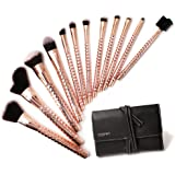 Brush Master 12 PCS Professional Makeup Powder Foundation Eyebrow Eyeliner Blush Cosmetic Concealer Brushes beauty Tools with Synthetic Bristles Rose Golden