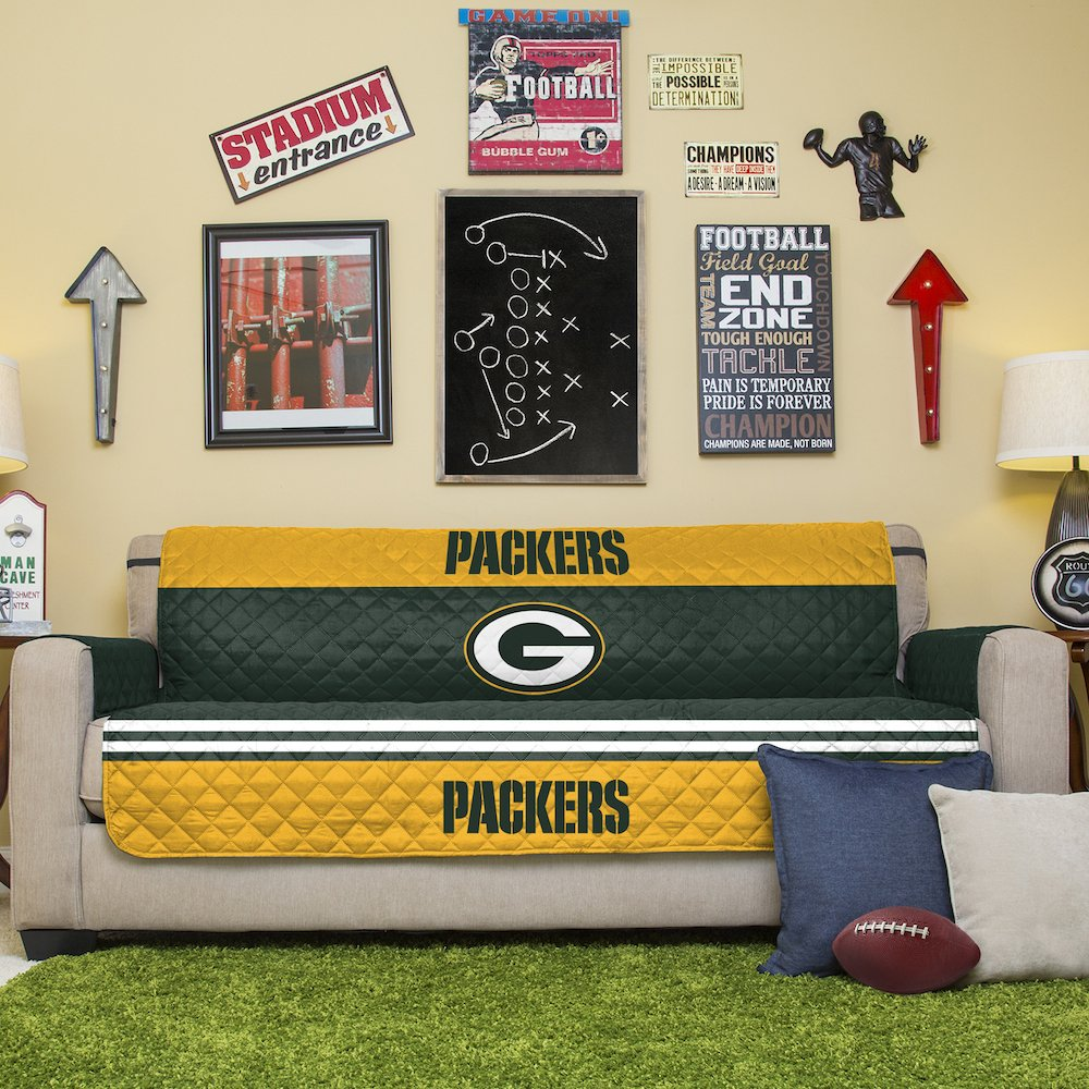 Amazon.com: NFL Green Bay Packers Sofa Couch Reversible Furniture Protector  With Elastic Straps, 75 Inches By 110 Inches: Home U0026 Kitchen
