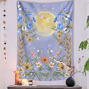 Lifeel Moonlit Garden Tapestry, Moon and Stars Surrounded by Vines and Flowers Blue Wall Decor Tapestry 60