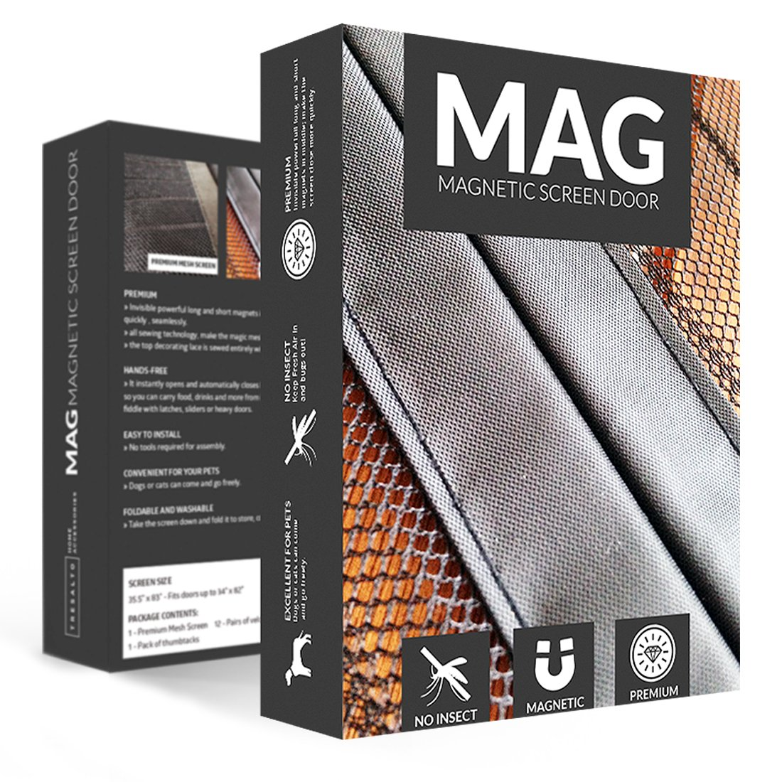 Amazon.com: MAG Magnetic Mesh Screen Door, 34 X 82 Inches   Bug Off  Curtain, Black: Home Improvement