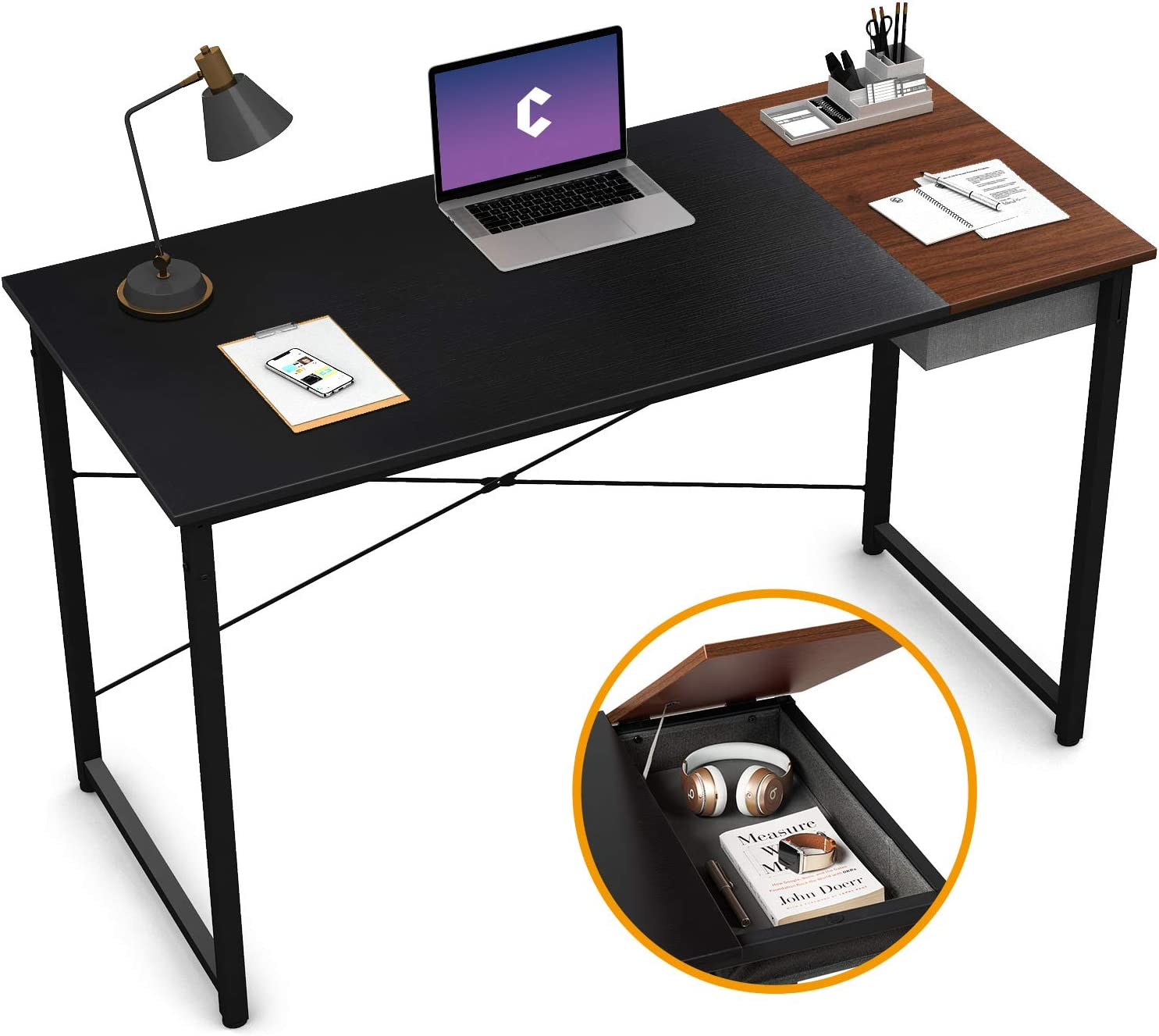 "Cubiker Computer Desk 47"" Home Office Writing Study Laptop Table, Modern Simple Style Desk with Drawer, Black Espresso"