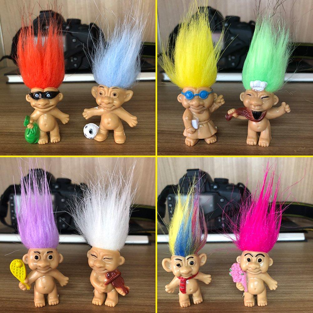 8PCS Troll Dolls, 80s\' PVC Vintage Trolls Lucky Doll Action Figures 3\
