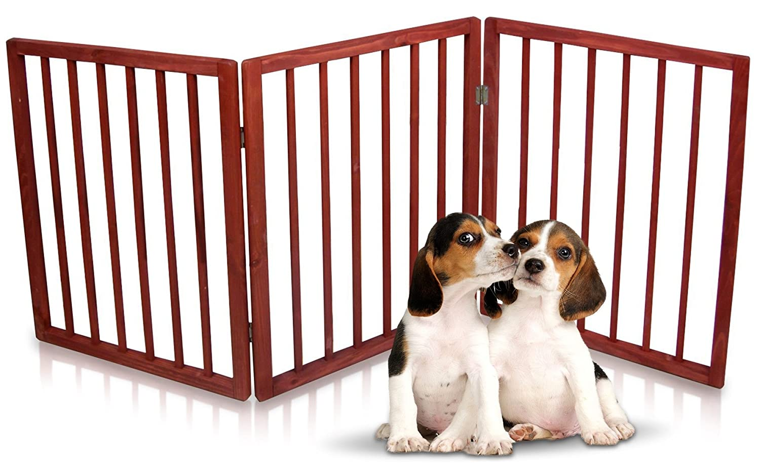 Hoovy Original Pet Gate Freestanding Folding Indoor Safety Wooden Pet Gate Stairway, Hallway, Room Divider for Small Pets Dogs Goes with Home Decor