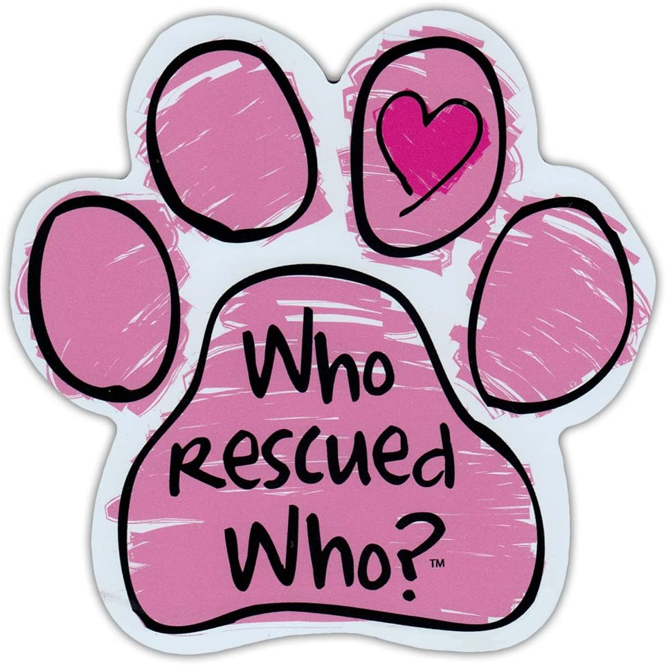 Pink Scribble Dog Paw Shaped Car Magnet - Who Rescued Who? - Magnetic Bumper Sticker