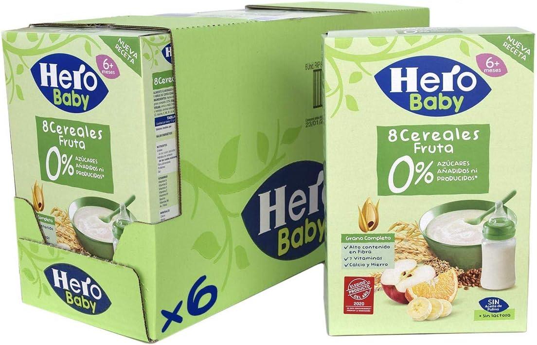 Hero Baby - Papilla de 8 Cereales con Fruta sin Azúcares Añadidos, para Bebés a Partir de los 6 Meses - Pack de 6 x 340 g