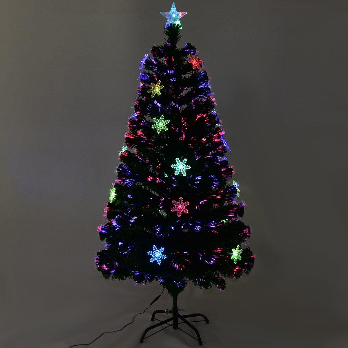 Supporto in Metallo GOPLUS Albero di Natale Verde PVC con Stella di Natale e Luci Colorati a Fibre Ottiche Cambiamento Automatico Altezza 120-210cm 120