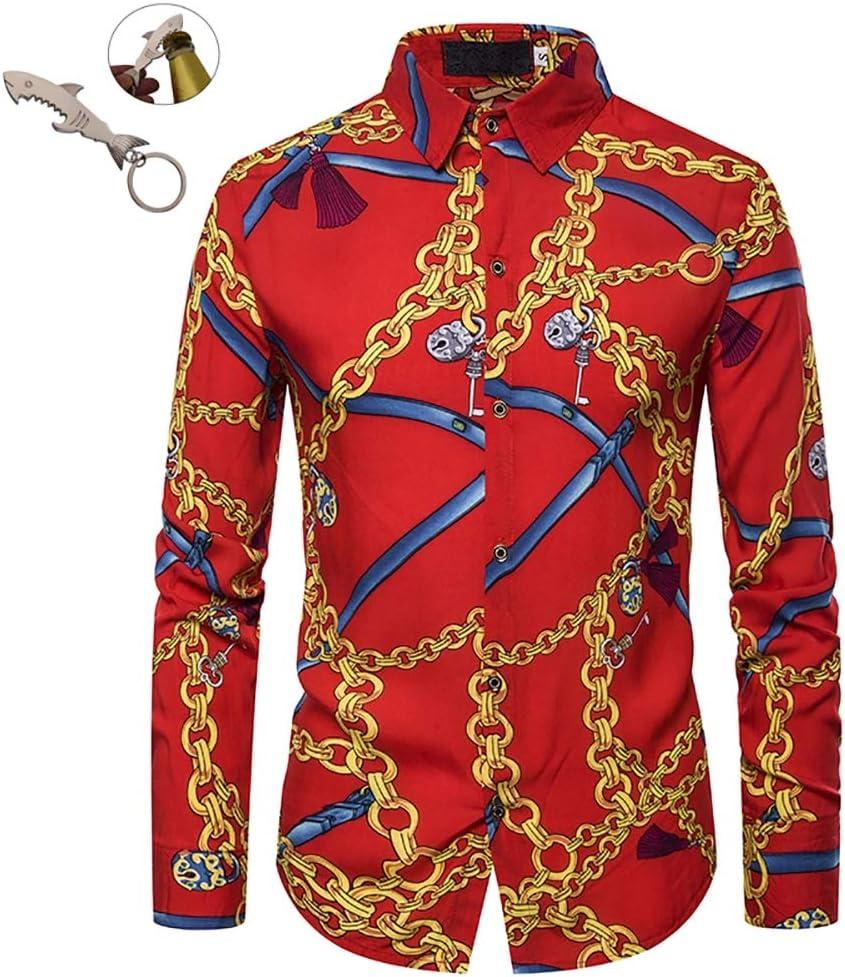 G&Armanis shop Polo de Otoño con Solapa Nueva, Elegante Camisa Roja de Manga Larga con Estampado de Cadena Roja, Camisa Casual de Tendencia para Hombres,S: Amazon.es: Deportes y aire libre