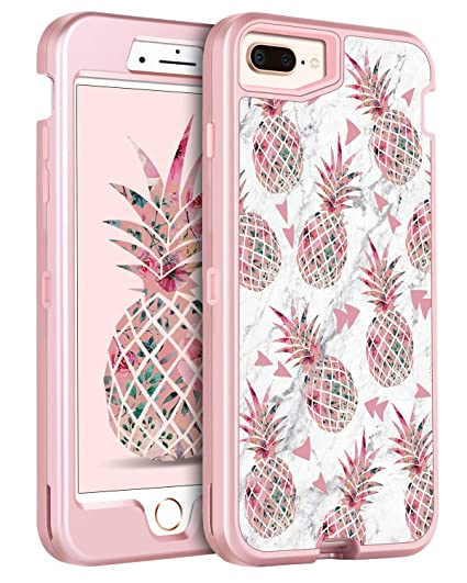 super popular 5b8ba 875f3 iPhone 8 Plus Case iPhone 7 Plus Case GUAGUA Pink Pineapple White Marble  Glossy Cover Women Girls Hybrid 3 in 1 Hard PC Soft Bumper Shockproof ...