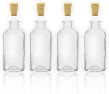 4 tarros de botellas/botellas de cristal con corcho 100 ml/10 cl ...