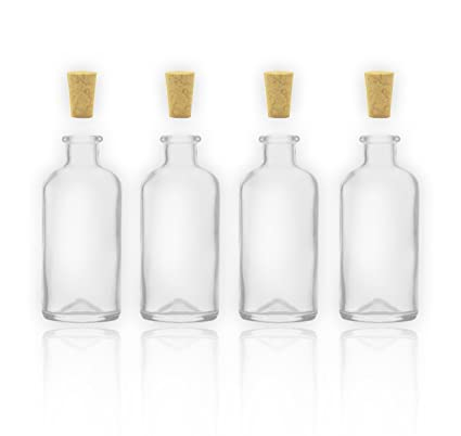 4 tarros de botellas/botellas de cristal con corcho 100 ml/10 cl botellas