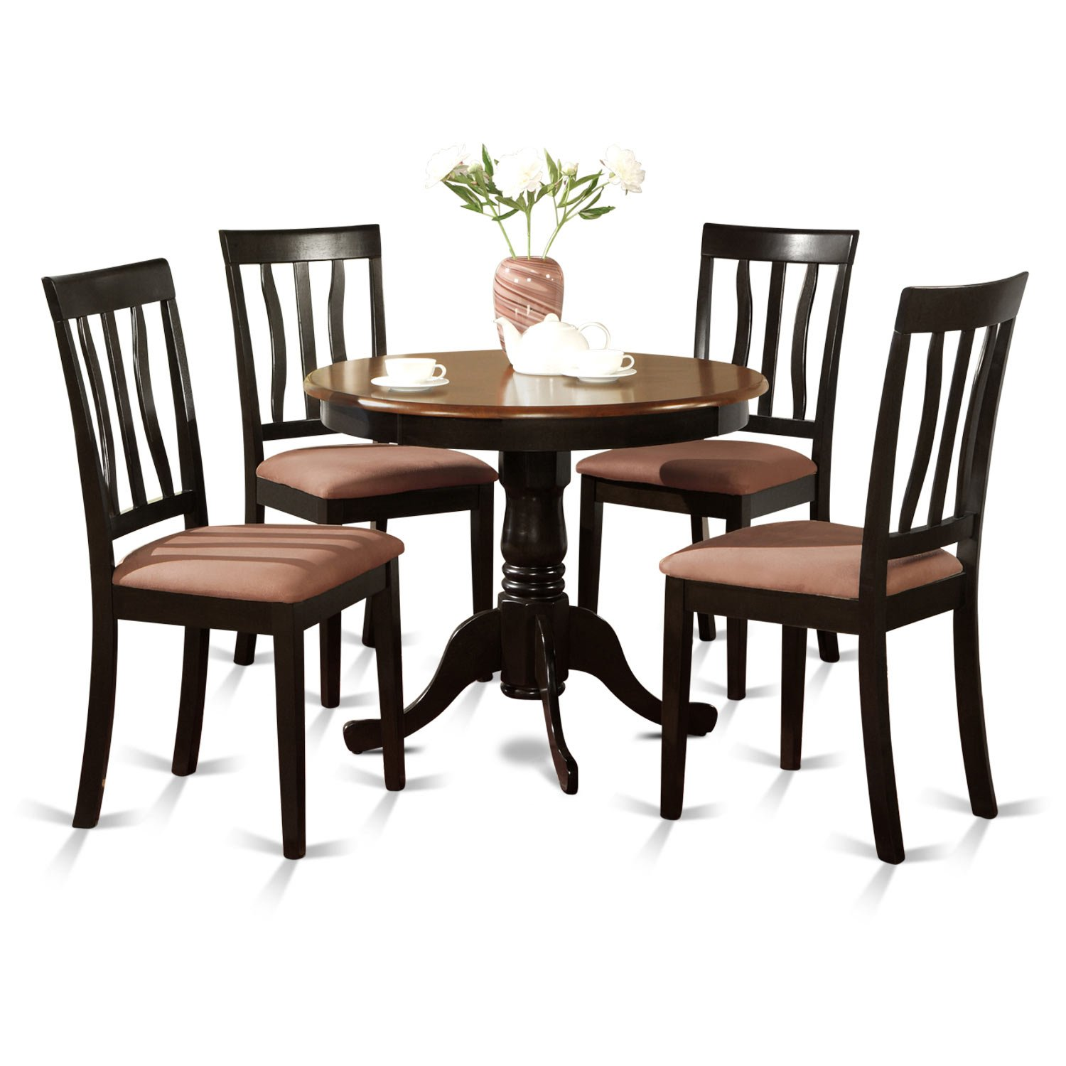 East West Furniture ANTI5-BLK-C 5-Piece Kitchen Table Set, Black/Cherry Finish, Cushion Seat,