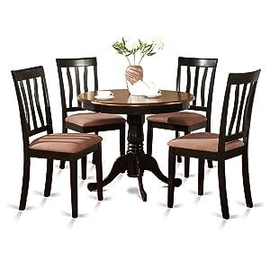 East West Furniture ANTI5-BLK-C 5-Piece Kitchen Table Set, Black/Cherry Finish, Cushion Seat,