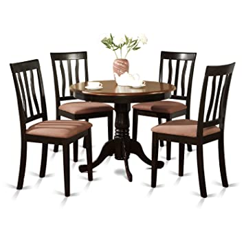 East West Furniture ANTI5-BLK-C 5-Piece Kitchen Table Set Black  sc 1 st  Amazon.com & Amazon.com - East West Furniture ANTI5-BLK-C 5-Piece Kitchen Table ...