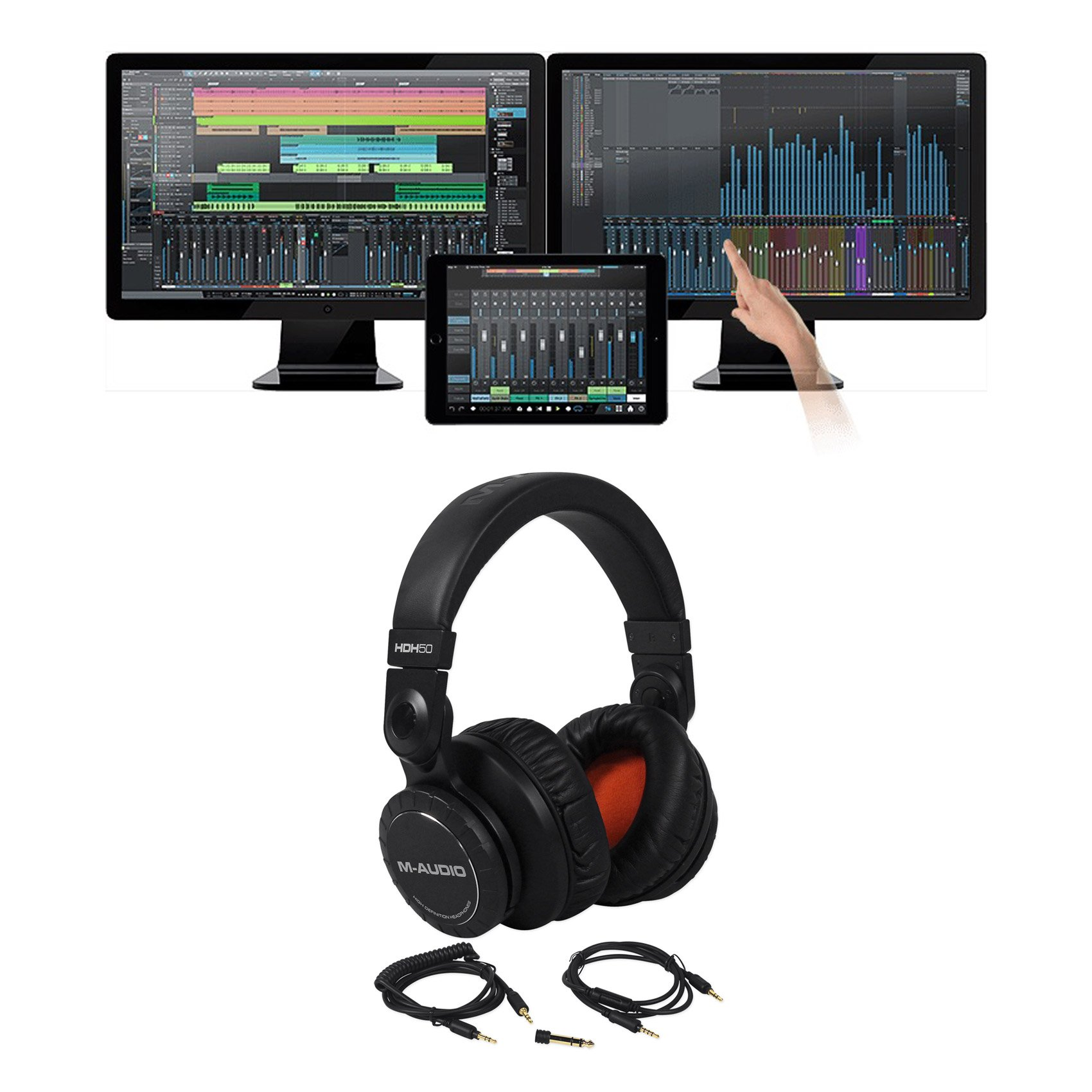 Package: Presonus Studio One 3.0 Professional Audio MIDI Recording DAW Full Software With iPad Integration + M-Audio HDH50 Black Studio/DJ High Definition Reference Headphones