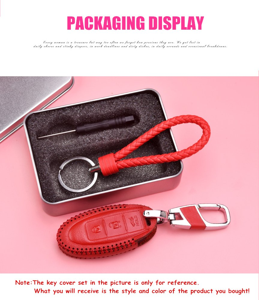 WAFERN Pink Genuine Leather Cover Etui Smart Remote Car Key Fob Holder Case Skin Protector with Braided Key Chain /& Key Rings for 3 Buttons Audi Accessories