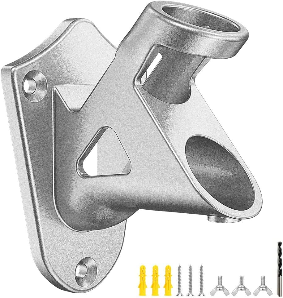 Elekin Stainless Steel Heavy Duty Flag Pole Holder,Flag Pole Bracket with 2 Positions for 1 inch Flag Pole Wall Mounted,Silver