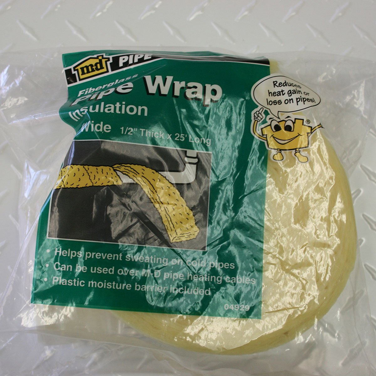 M-D Building Products 4929 3-inches-by-25-Feet Fiberglass Pipe Wrap(3''x25'), Yellow