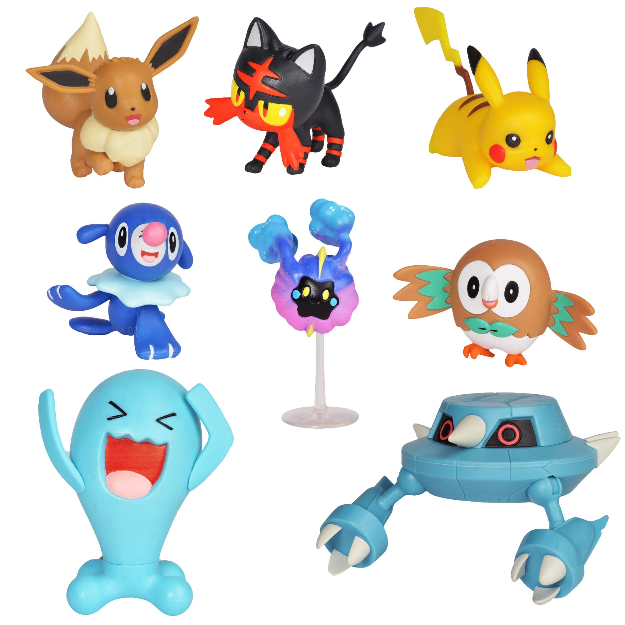 Pokemon Action Figure Mega Battle Pack - Comes with 2'' Rowlet, 2'' Popplio, 2'' Litten, 2'' Eevee, 2'' Pikachu,  2'' Cosmog, 3'' Metang, and 3'' Wobbuffet by Pokemon