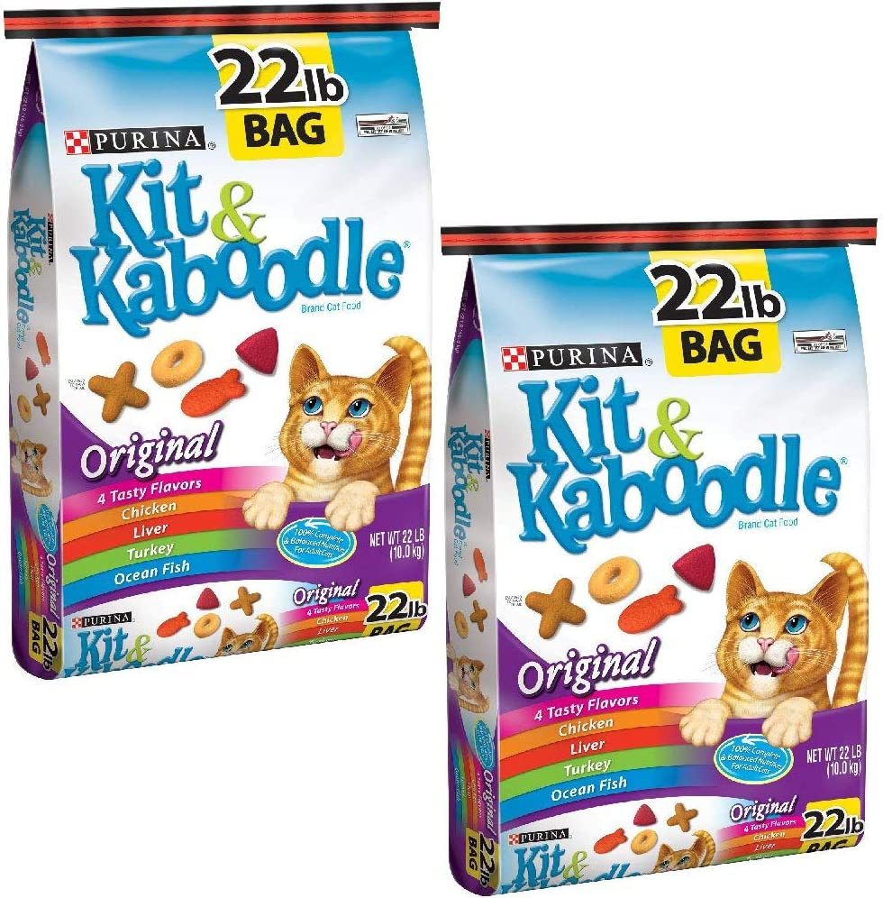 Purina Kit and Kaboodle Dry Cat Food, Original, 22 Lb Bag, Features 4 Tasty Flavors: Chicken, Liver, Turkey, Ocean Fish (22 lb - Pack of 2)
