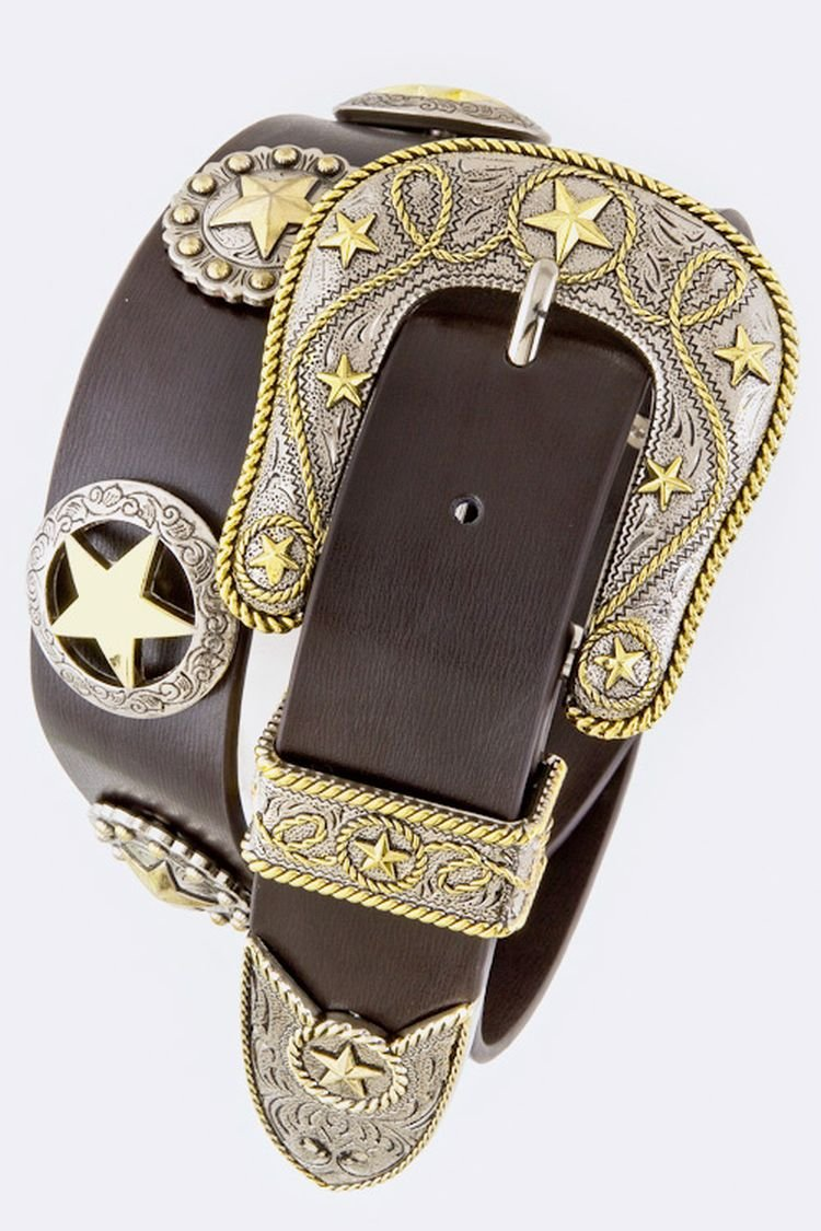 Chic Chelsea Star Concho Belt (Brown)