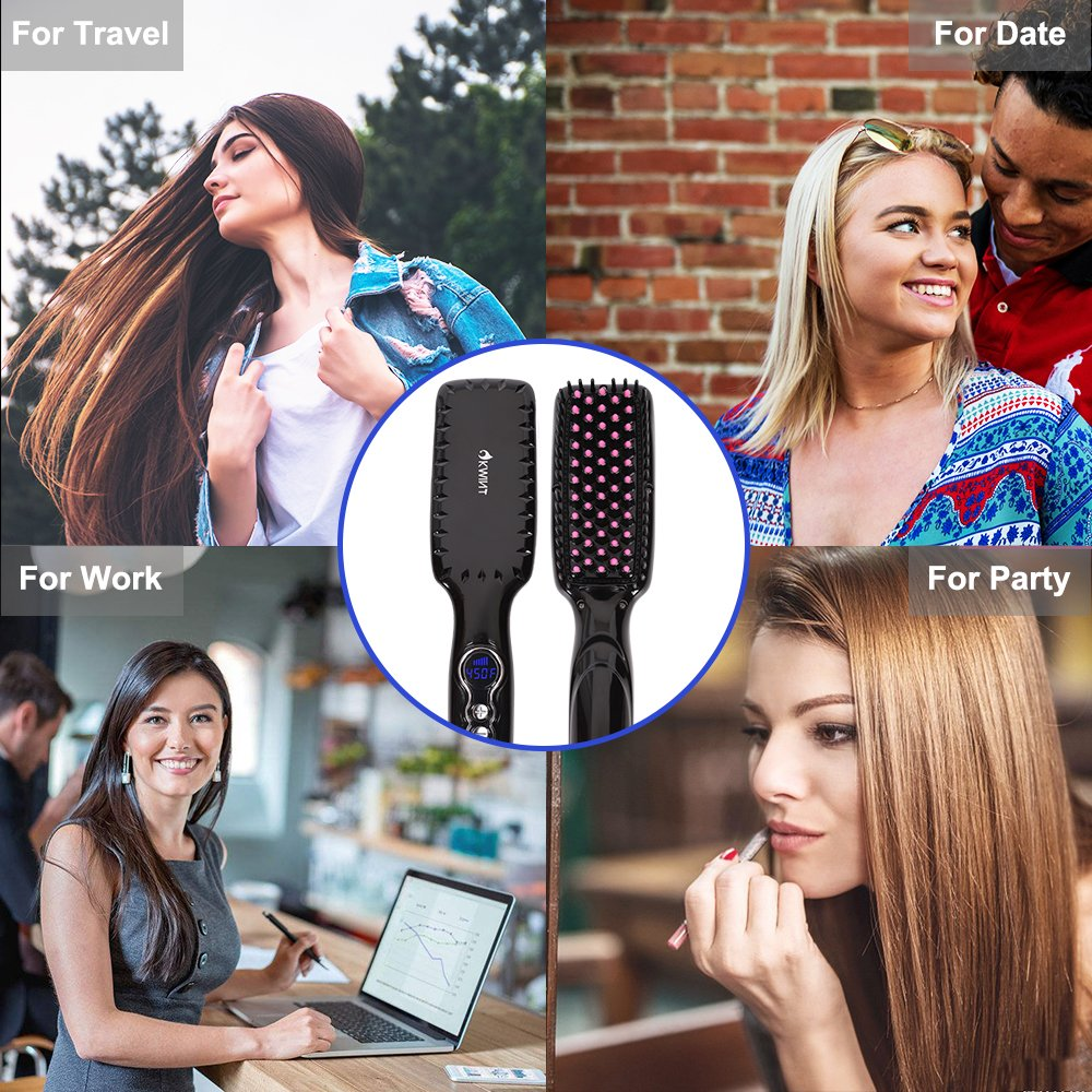 Hair Straightener Brush, OKWINT Ionic Straightening Brush with Anti-Scald Feature,Adjustable Temperatures, Auto-off Function by OKWINT (Image #7)
