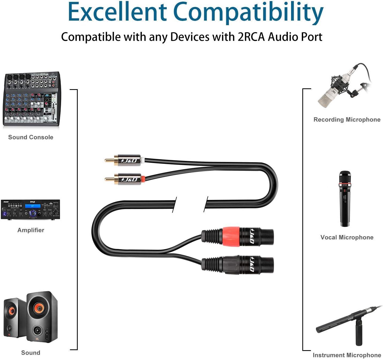Desequilibrado 2 RCA a 1 XLR Divisor de Cable Duplicador Adaptador de Cable en Y para Altavoz Condensador Mic Mixer AMP J/&D Cable Divisor de Doble RCA Macho a XLR Macho 1,8 Meter