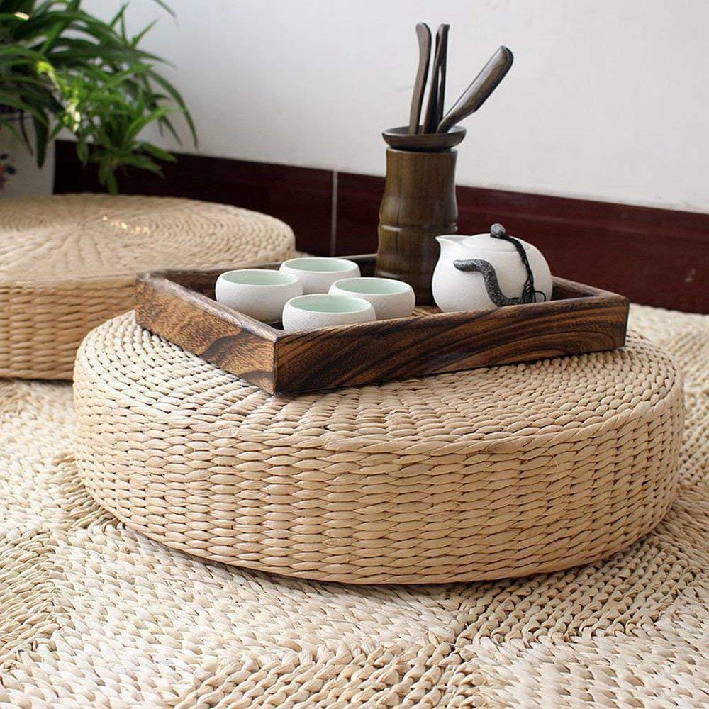 HUAWELL Japanese Seat Cushion Round Pouf Tatami Chair Pad Yoga Seat Pillow Knitted Floor Mat Garden Dining Room Home Decor Outdoor (40cm x 6 cm)