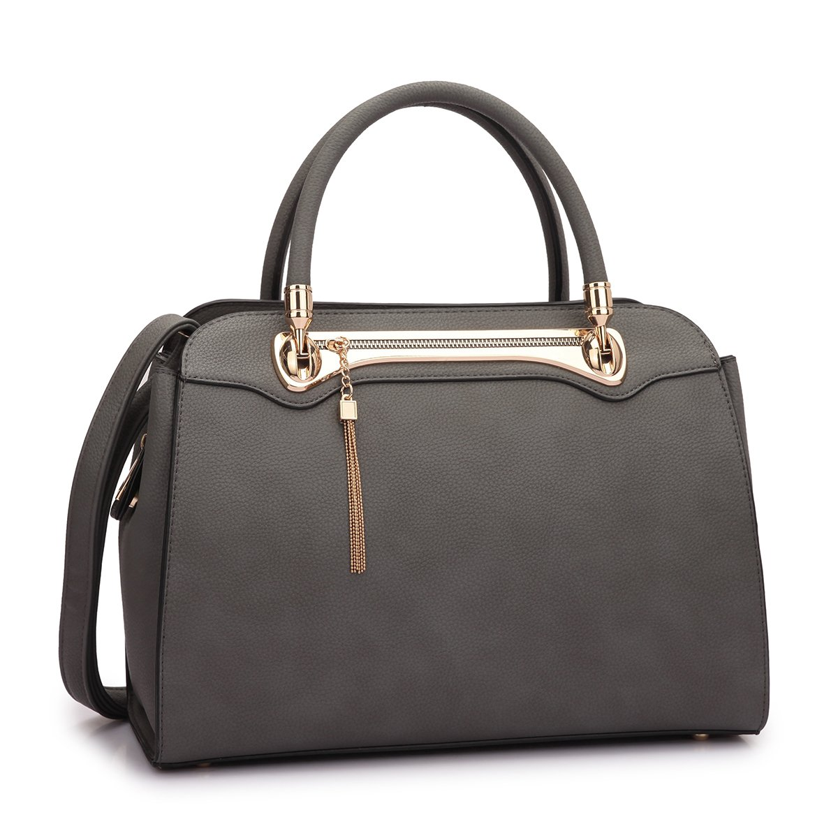 Women Structured Satchel Bags Vegan Leather Handbag Top Handle Purse Fashion Shoulder Bag with Fringed Tassel