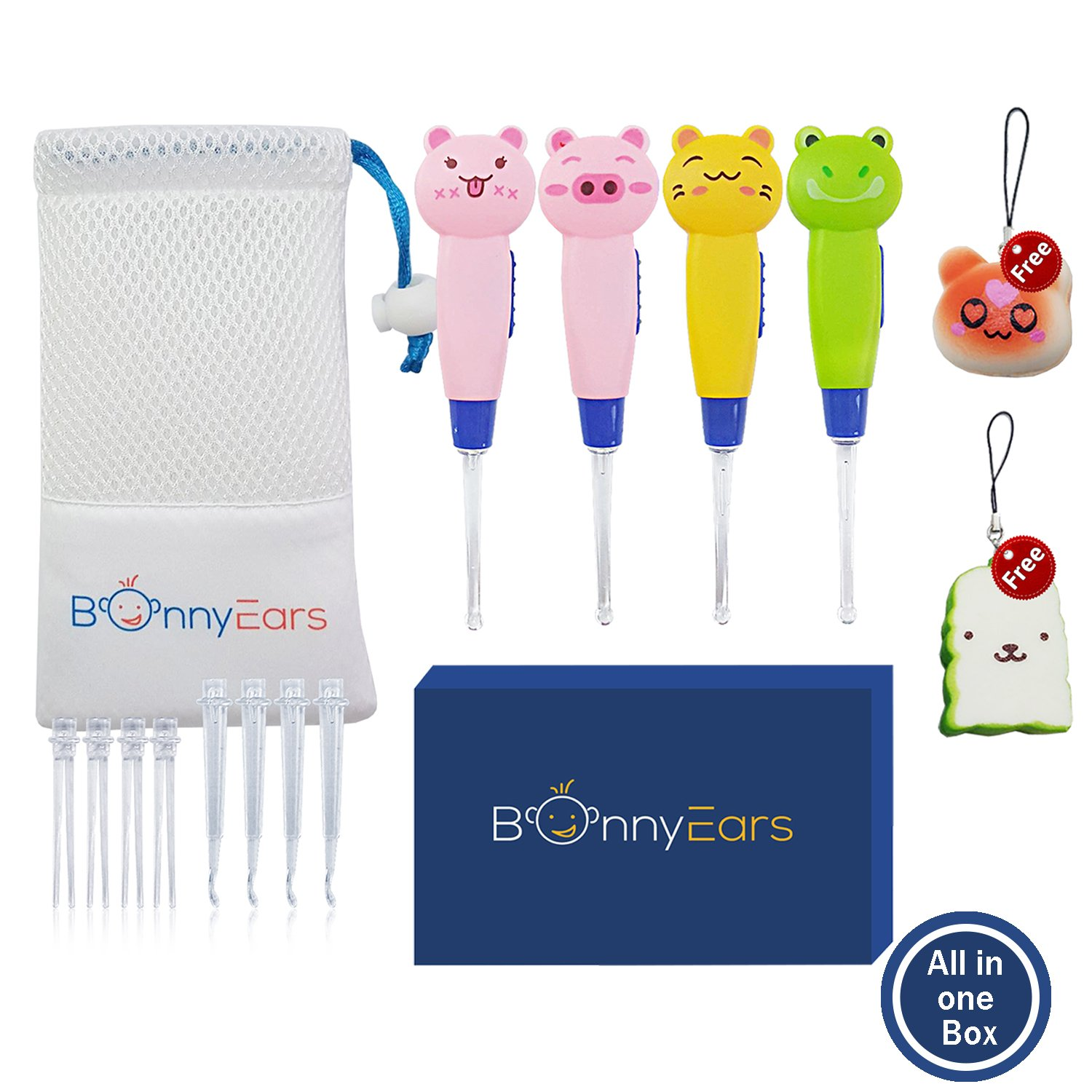 Ear Wax Removal Tool for Kids - Toddlers, Infants, Baby and Adult by BonnyEars | 4 Pieces | Earwax Remover Kit with Led Light Cleaner | Ear Pick Spoon Curette Tweezers Cleaning