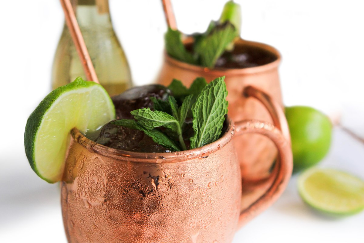 Coasters and Mixology Book Spoons with Muddlers Moscow Mule Hammered 100/% Copper Mug Cup Set for Two with Shots Straws