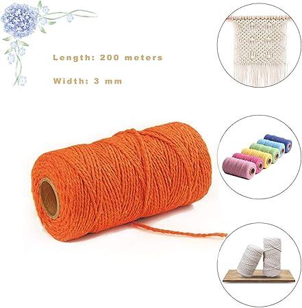 Hecha a Mano Craft Cuerda,Cordel de Algodón,natural trenzado algodon,Hilo Macramé,para Envolver Regalo Navidad Colgar Fotos Manualidades Costura (Orange-a): Amazon.es: Hogar