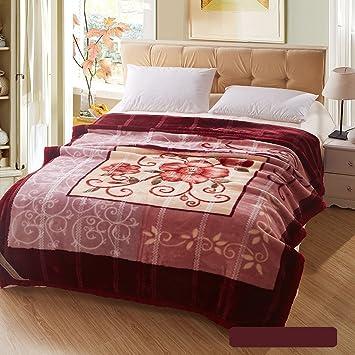 Wddwarmhome Winter warme Decke dunkel rot braun Decke Schlafzimmer ...