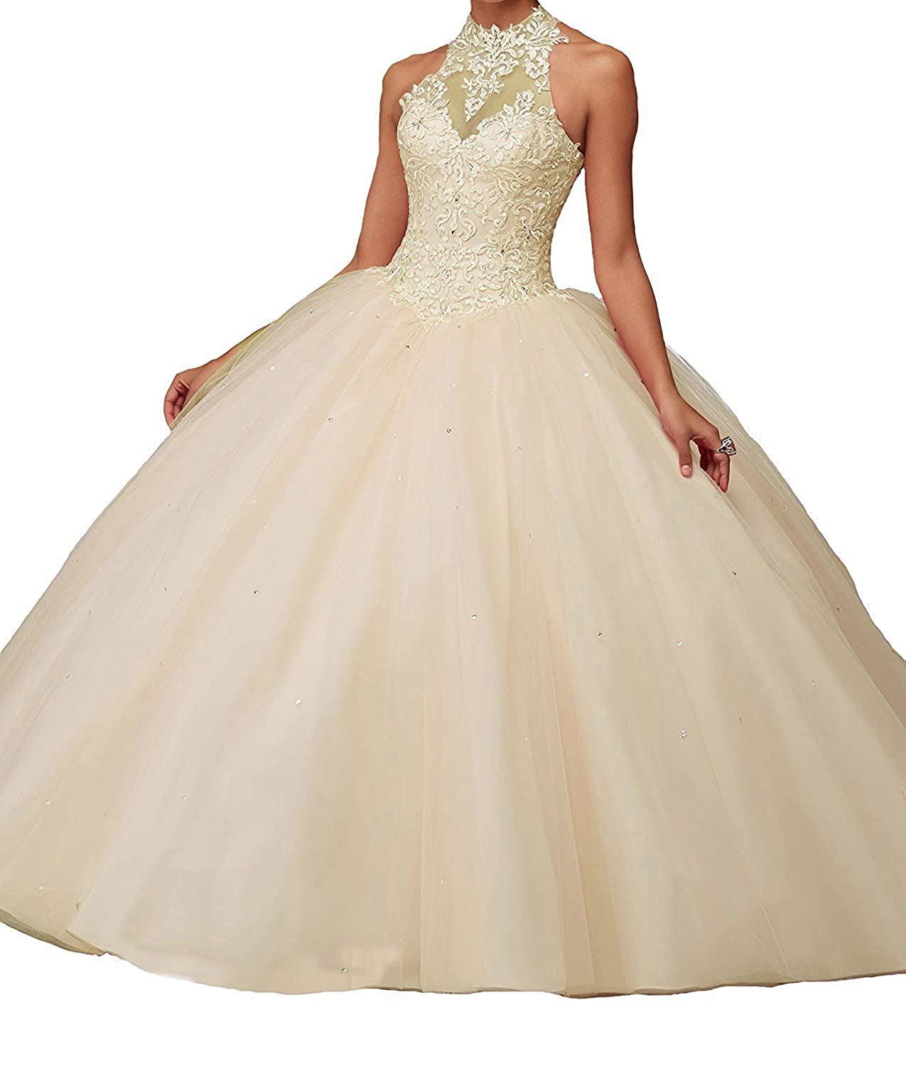 ac1a5bd0fa6 Amazon.com  Women s Lace Pageant Quinceanera Dresses Ball Gown Halter Prom  Evening Gowns  Clothing