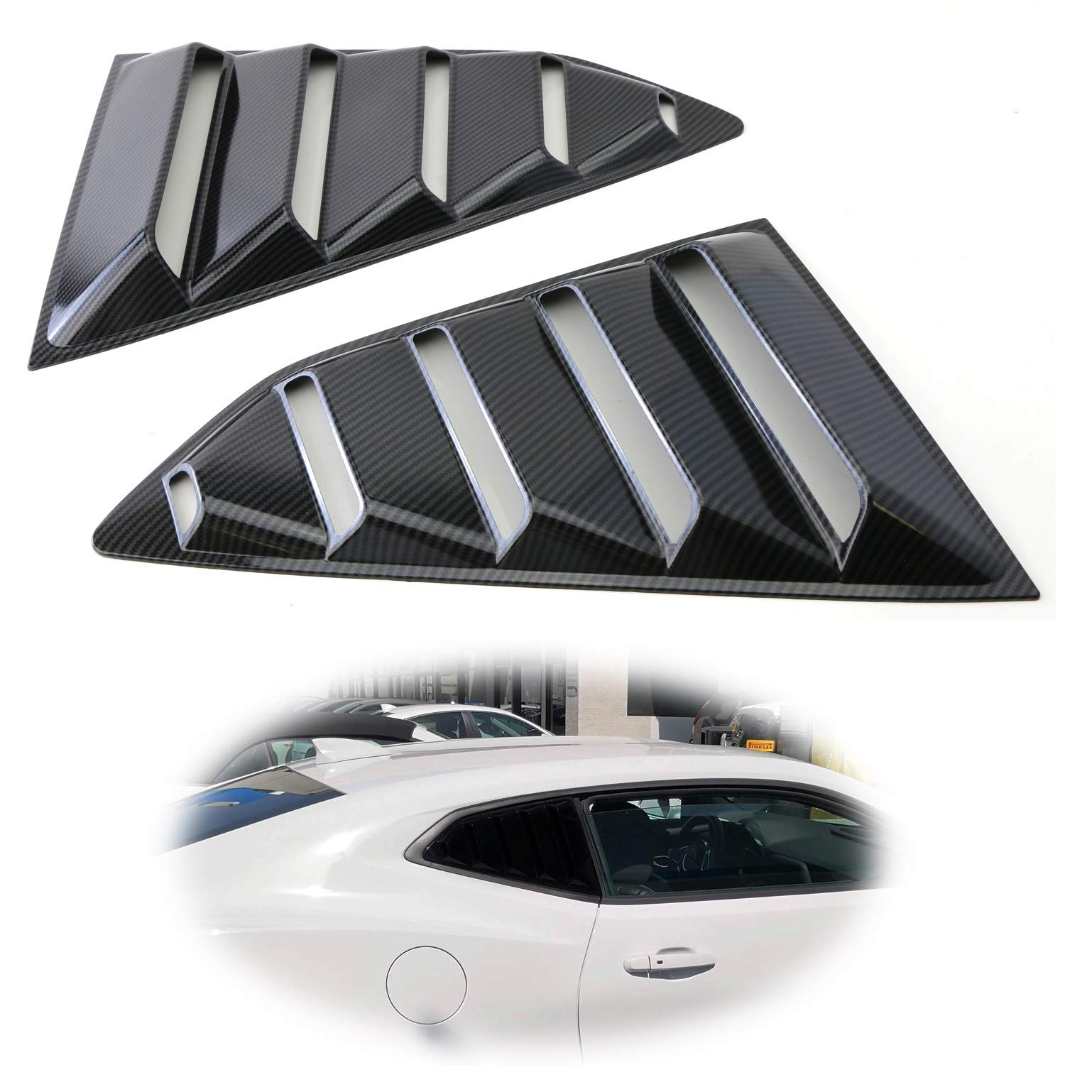 iJDMTOY Left//Right BlackCarbon Fiber Finish Racing Style Rear Side Window Scoop Air Vent//Louver Shades For 2016-up Chevy Camaro