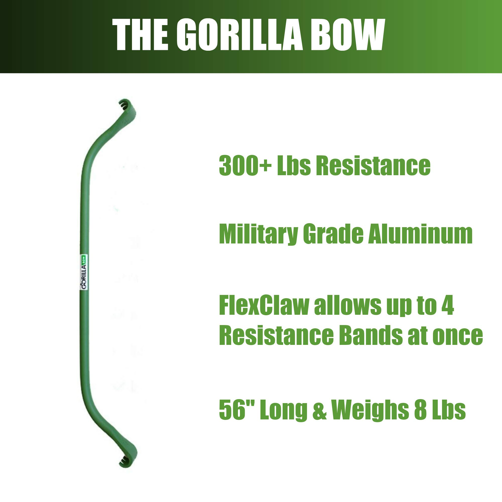 Gorilla Bow Portable Home Gym Resistance Band System | Weightlifting & HIIT Interval Training Kit | Full Body Workout Equipment (Heavy Green) by Gorilla Fitness (Image #4)