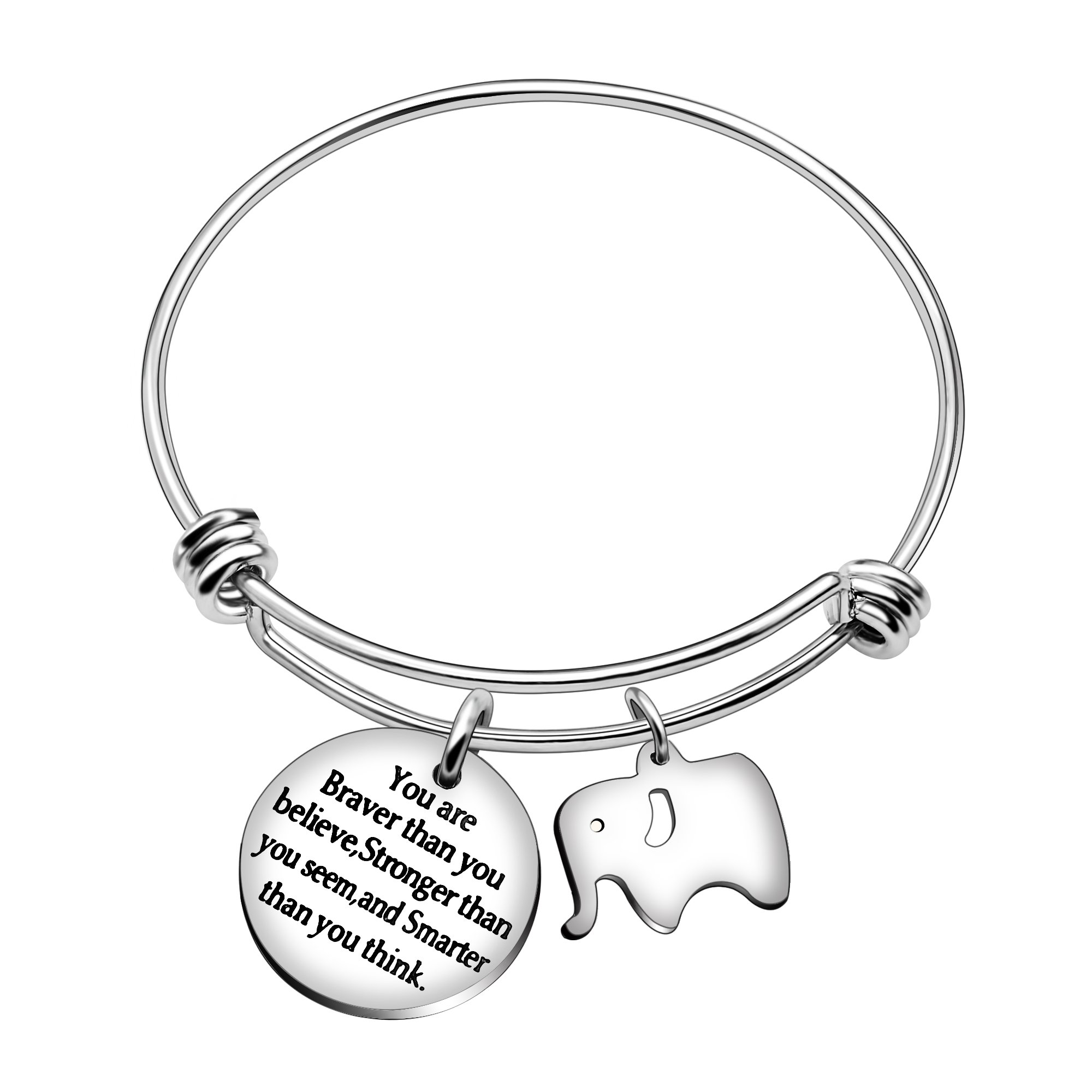 Best Friend Bangle Bracelets Family Gift You're braver stronger smarter than you think (Stainless Steel Elephant)