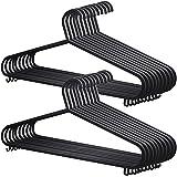 20x Adult Coat Hangers Black Colour Strong Plastic Clothes with Suit Trouser Bar & Lips (36cm Wide)