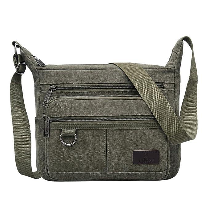 8dca6b60b2f9 Unisex Vintage Retro Canvas Shoulder Bag Multi Pocket Cross-body Messenger  Bag (Army Green